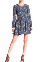 ROMEO & JULIET Couture Blue Floral Long Sleeve Woven Printed Dress MEDIU... - $49.95