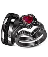 14k Black Gold Over 925 Sterling Silver Red Garnet & Black Diamond Trio ... - $164.99