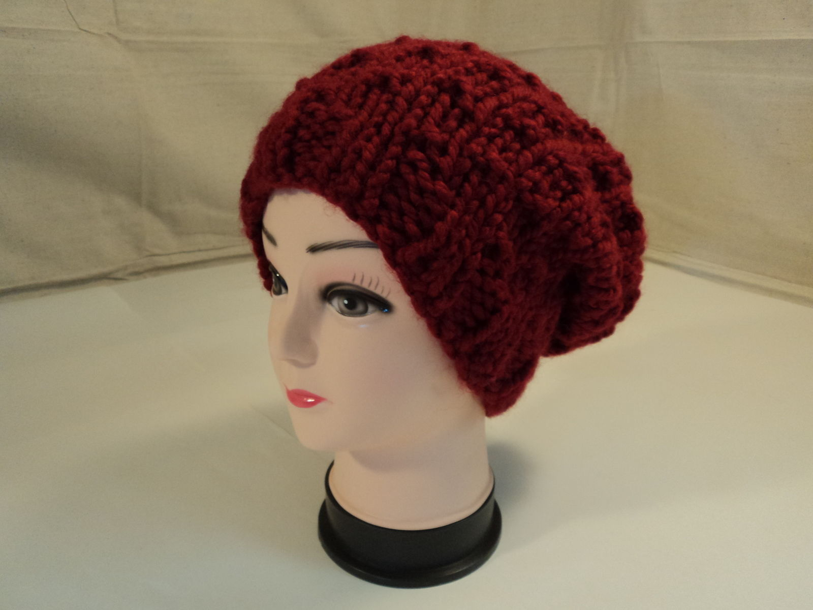 Handcrafted Bulky Slouchy Hat Red Textured Acrylic Wool Mix Female Adult