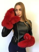 Fox Fur Mittens With Red Suede Fur Gloves Regular Women's Size Saga Furs - $210.00