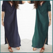 Navy or Green Long Sleeved Button Up V Neck Sheer Beach Tunic Lounger Robe