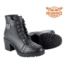LADIES LEATHER BOOTS WITH STUDS Milwaukee Riders® SIZE 6 TO 11 SALE MR-B... - $64.99+