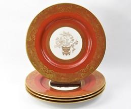 "Set 4 Copeland Spode Orange Gold Willow Dinner Plates 10 1/4"" C1925 Chinoiserie - $394.99"