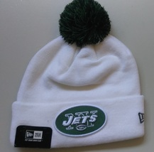 c672e8911bf New Era NFL Unisex Beanie NEW YORK JETS White Green POM Football Beanie -  £14.82