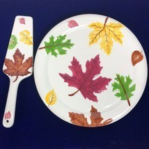 Fall Table Decor 11 inch Ceramic Cake Plate Server Lifter Leaves Leaf Se... - £18.14 GBP