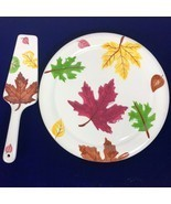 Fall Table Decor 11 inch Ceramic Cake Plate Server Lifter Leaves Leaf Se... - $24.95