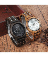 BOBO BIRD Wooden Men's Watch Luxury Wood Metal Strap Chronograph - $38.99