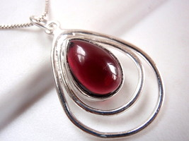Garnet Pendant in Double Hoop 925 Sterling Silver Imported from India New - $11.38