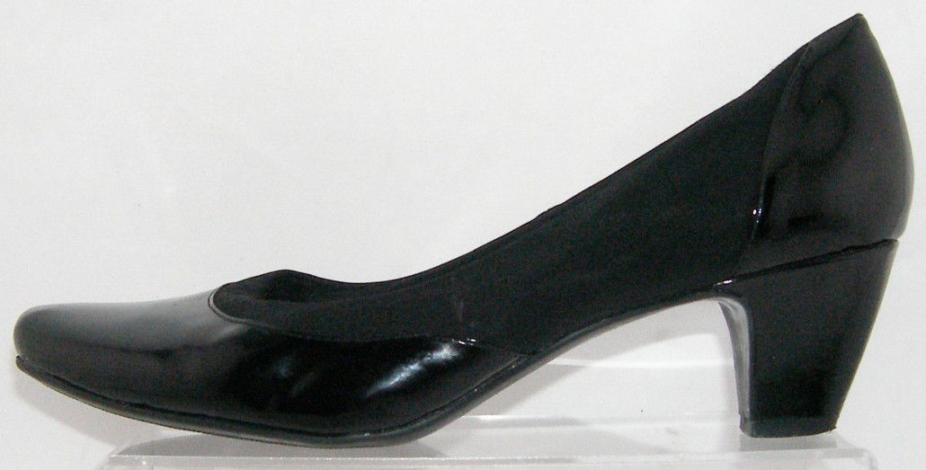 a4038839817 Easy Spirit  Verucas  black leather stretch slip on block heel shoe 9.5M