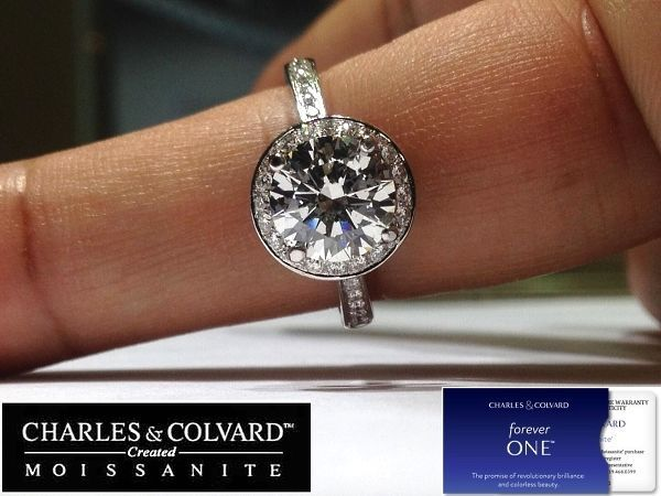 2.50 Carat Moissanite (8mm Forever One) & Diamond Halo Style Ring in 14K Gold