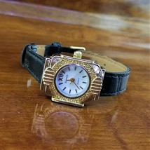 New Vintage Womens ETERNITY Gold & Silver TN Black Leather Band Art Deco... - $29.95