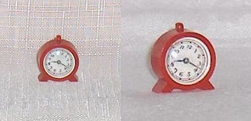 Primary image for Small Red Clock Hard Plastic  Renwal Dollhouse Accessory Furniture