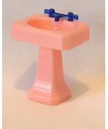 Renwal Pedestal Sink Pink With Blue Faucets - $9.14