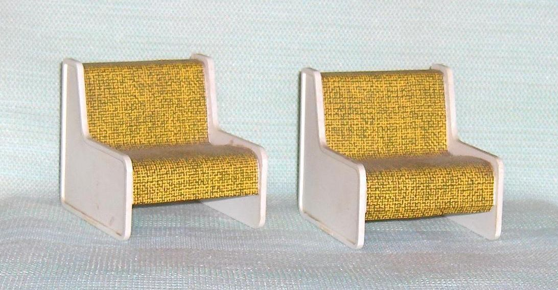Primary image for Matching Pair of Large Hard Plastic Chairs  Dollhouse Furniture