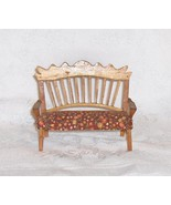 Ornate Wooden Bench or Settee with Fabric Seat Wood Dollhouse Furniture - $9.18