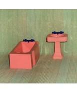 Renwal   Pink Tub and Pink Pedestal Sink  Hard Plastic  Dollhouse Furniture - $13.53
