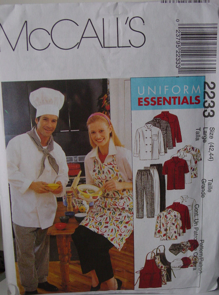 "Pattern 2233  Chef's Uniform sz 42,44"" NEW!"
