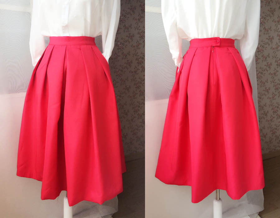 2017 Fashion Midi Skirt in Red Black Women Midi Skirt