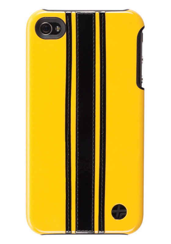 Primary image for Trexta Leather Racing Yellow Blk Snap On Case iPhone 4