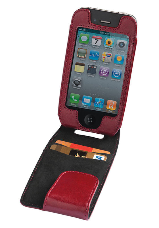 Trexta Maia Leather Flip Case Pouch iPhone 4 4S Burgundy
