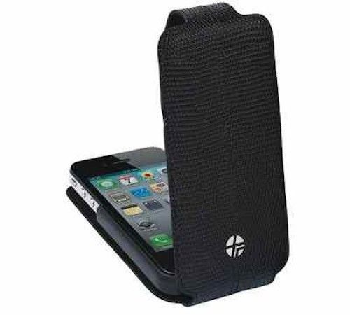 New Trexta Flippo Leather Flip Case Pouch for Apple iPhone 4 4S - Exotic Black