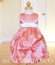 CORAL FLOWER GIRL TODDLER DRESS WEDDING PAGEANT IVORY SASH S M L XL (0-2... - $20.99