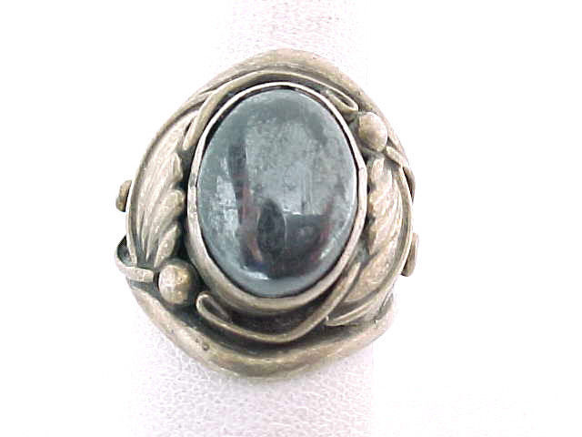 Primary image for HEMATITE Navajo signed RING in STERLING Silver - Size 8