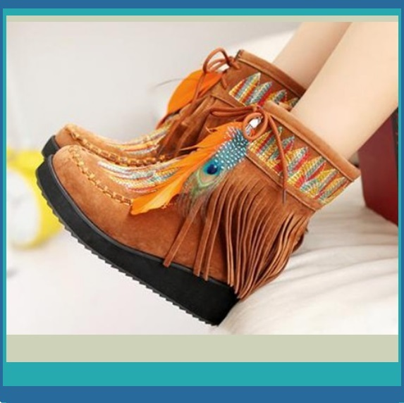 Clay Fringe Peacock Feather Tassel Embroidered Leather Moccasin Slip on Boots
