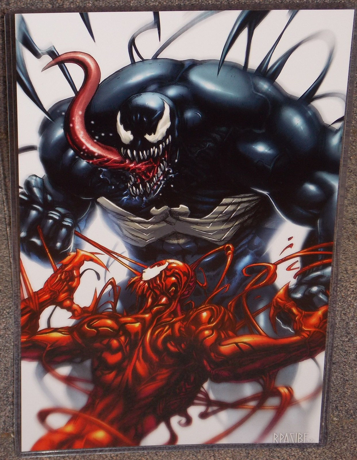 Primary image for Marvel Spider-Man Venom vs Carnage Glossy Print 11 x 17 In hard Plastic Sleeve