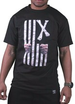 Dissizit! Mens Black Free Country Prison Bars American Cross Bones Flag T-Shirt