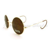 Vintage Sunglasses Unique Curved Ear Temple Round Circle Thin Metal Frame - $8.95