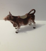 Vintage Antique Porcelain German Brown & White Cow with Horns Grandmothers - $26.01