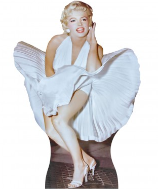 "Marilyn Monroe Life Size (5' 4"" tall) Standup White Blowing Dress Cut Out"