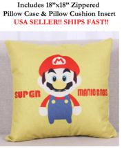 """18x18 18"""" Nintendo Super Mario Brothers Bro Mario Zippered Pillow Case &... - $19.99"""