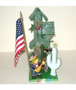 Green Rustic Wood Birdhouse on Base with Singin... - $15.00