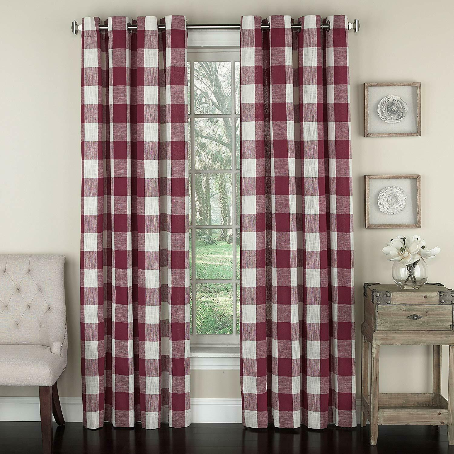 "Primary image for Courtyard Plaid Woven Curtain Panel with Grommets, Red, 84"" length, Lorraine"