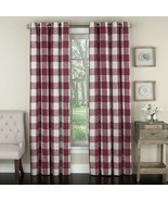 """Courtyard Plaid Woven Curtain Panel with Grommets, Red, 84"""" length, Lorr... - $24.99"""