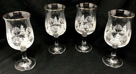 "Set of 4 Christmas Stemmed Glasses w/  Frosted Trees w/ Gold Rim 7""  - $44.99"