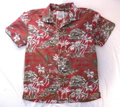Boy Size L 10-12 Old Navy Red Short Sleeve Hawaaii Shirt Print Button Front - $6.75