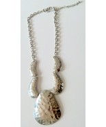Large Silver Hammered Look Statement Necklace - $9.99