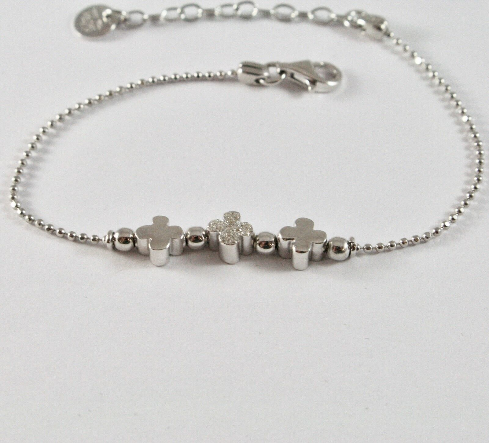 Silver Bracelet 925 Jack&co to Balls with Four-Leaf Clover with Zircons JCB0782