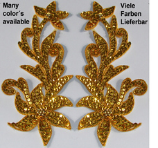 pair appliques sequins applikationen pailletten sew on embroidery handmade ap131 - $9.99