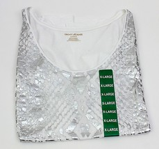 DKNY White/Silver Ladies Short Sleeve Tee Shirt 100% Cotton New with Tag... - $9.90