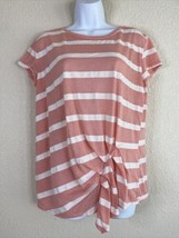 Umgee Womens Size S Pink Striped T-Shirt Short Sleeve Pleated Hemline - $19.80