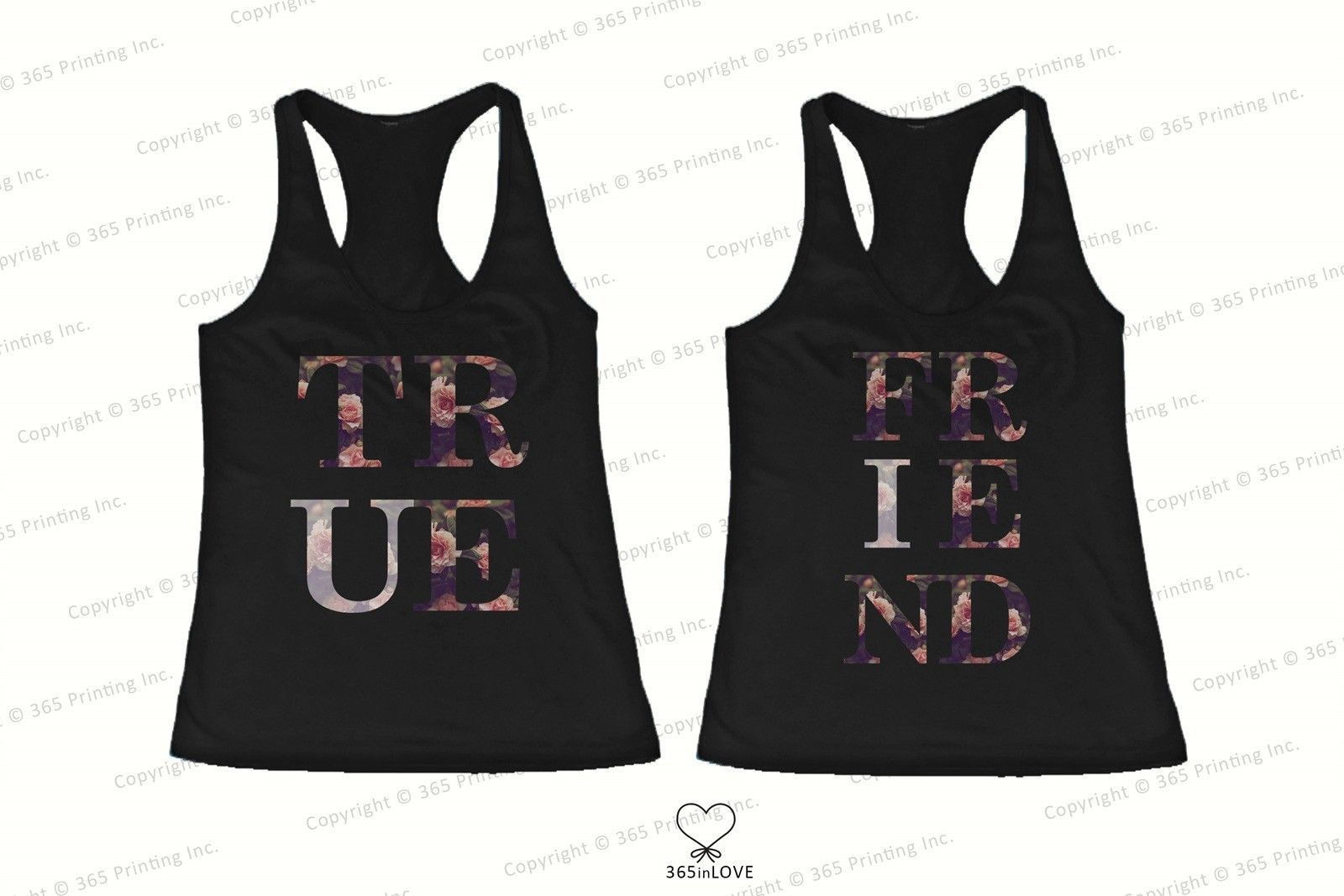 Primary image for Best Friend Matching Tank Tops - True Friend Floral Print Tank Tops for BFF