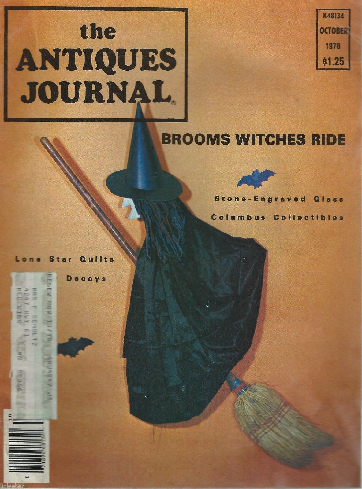 Primary image for The Antiques Journal-October 1978-Brooms Witches Ride;Lone Star Quilts;Columbus