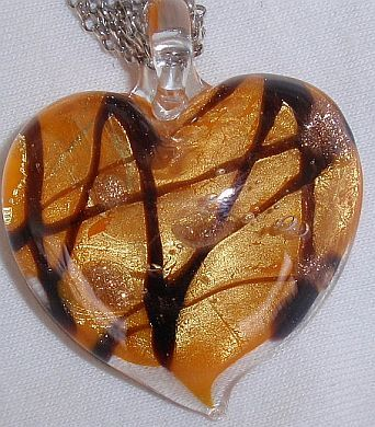 Morano orange heart pendant
