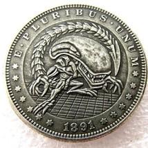 Rare New Hobo Nickel 1891 Morgan Dollar Alien Predator Movie Demon Caste... - $11.99