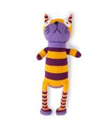 Orange and Purple Striped Stuffed Cat - Plush Doll - $24.70