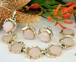 Vintage pink thermoset flower tulip bracelet earrings set signed thumb155 crop